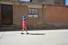Unidentified children on the streets of Oruro. Royalty Free Stock Photos