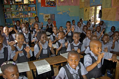 Unidentified children in township school near Kampala. Royalty Free Stock Photo