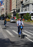 Unidentified Citi bike rider in Manhattan Stock Images
