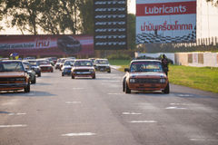 Unidentified classic retro Toyota Crown in race Stock Photo