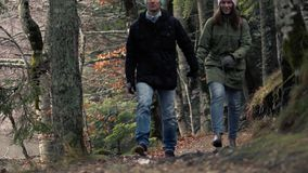 Unidentified Couple Admiring The View Of Forest. Romantic Journey - Unidentified Couple In Love Walks Holding By Hands In Warm Clothes In The Autumn Picturesque stock video