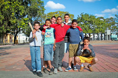 Unidentified Cuban multi-ethnic group of  boys  posing in Santa Royalty Free Stock Photography