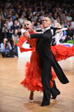 An unidentified dance couple in a dance pose during Grand Slam Standart at German Open Championship Royalty Free Stock Photo