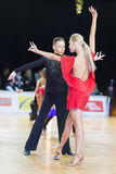 Unidentified Dance Couple Performs Youth-2 Latin-American Program on the WDSF Baltic Grand Prix-2106 Championship Royalty Free Stock Images