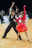Unidentified Dance Couple Performs Youth-2 Latin-American Program on the WDSF Baltic Grand Prix-2106 Championship Royalty Free Stock Photo