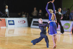 Unidentified Dance Couple Performs Youth-2 Latin-American Program on the WDSF Baltic Grand Prix-2106 Championship Stock Image