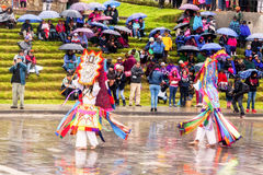 Unidentified dancers with elaborate costume at Inti Raymi,  indigenous celebration in Ingapirca, Canar, Ecuador Royalty Free Stock Images