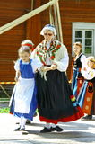 Unidentified dancers in folklore ensemble Royalty Free Stock Photography