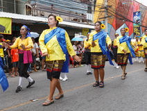 Unidentified dancers perform traditional Thai-Esan dance on the traditional candle procession festival of Buddha Royalty Free Stock Photos