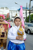 Unidentified deltagare ståtar in, Songkhla Thailand Royaltyfri Fotografi
