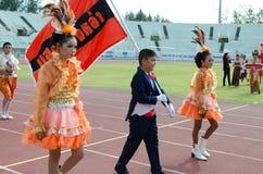 Unidentified deltagare under ståtar, Thailand Arkivfoton