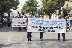 Unidentified demonstranter i stadsgator Royaltyfria Foton
