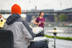 Unidentified drummer supporting runners during  16 Cracovia marathon Royalty Free Stock Photos