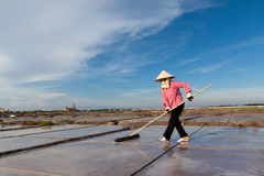 An unidentified farmers are harvesting salt Royalty Free Stock Photos