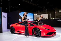 Unidentified female models with Lambroghini Stock Images