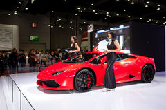 Unidentified female models with Lambroghini Stock Photography