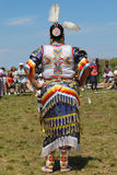 Unidentified female Native American dancer wears traditional Pow Wow dress during the NYC Pow Wow Stock Photos