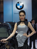 Unidentified female presenter of BMW Stock Images
