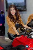 Unidentified female presenter of BMW Motorbike in Motor Show Royalty Free Stock Photography