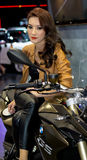 Unidentified female presenter of BMW Motorbike in Motor Show Stock Photos