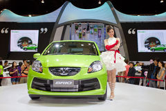 Unidentified female presenter at Honda booth Stock Images