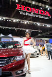 Unidentified female presenter at Honda booth Stock Photos