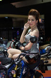 Unidentified female presenter of Honda in Motor Show. Bangkok, Thailand - March 28, 2014: Unidentified female presenter of Honda motorcycle in Bangkok Motor Show Royalty Free Stock Photos