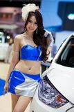 Unidentified female presenter at Hyundai booth Royalty Free Stock Photography