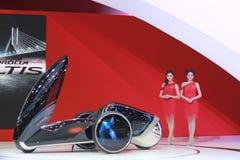 An Unidentified female presenter pose in Bangkok International Motor show royalty free stock photo