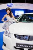 Unidentified female presenter at Subaru booth Royalty Free Stock Photos