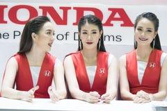 Unidentified female presenters model Honda Boot. Bangkok-Thailand-3 December 2017: Unidentified female presenters model Honda Boot at Motor Show Muangthong 2017 stock photography