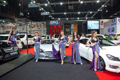 Unidentified females presenter with BRG Carlsson car Stock Photo
