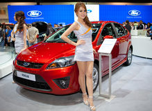 Unidentified females presenter at Ford booth Stock Images
