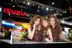Unidentified females presenter at Isuzu booth Royalty Free Stock Photography