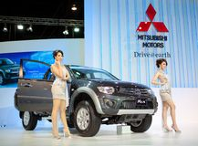 Unidentified females presenter at Mitsubishi booth Stock Photo