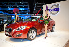 Unidentified females presenter at Volvo booth Stock Images