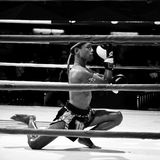 Unidentified fighter first performs the respect(Wai Khru Ram Muay) before fighing Royalty Free Stock Image