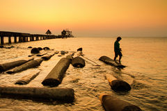 Unidentified Fisherman and dog fishing at the bridge in sunset.Thailand Stock Photography