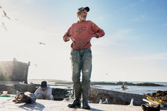 Unidentified fisherman in the port Stock Photography