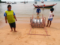 Unidentified fishermen are put in the cart. CHUMPHON, THAILAND - SEPTEMBER 22 : Unidentified fishermen are put in the cart on September 22, 2012 at Chumphon stock image
