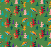 Unidentified flying object in the autumn forest vector seamless pattern Stock Image