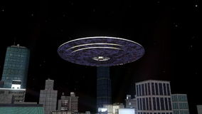 Unidentified Flying Object. Image of a UFO and city stock video footage