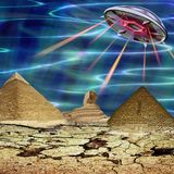 Unidentified flying object landing in a cracked landscape. Unknown object flying over pyramids and sphinx. 3d illustration Stock Photography