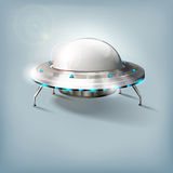 Unidentified flying object - UFO. Abstract cosmic disk - illustration Stock Photo