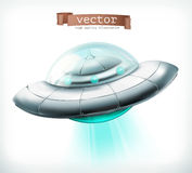 Unidentified flying object. UFO spacecraft vector icon. Unidentified flying object. UFO spacecraft 3d vector icon Stock Photography