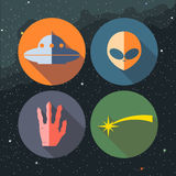 Unidentified flying objects icons set with ship Royalty Free Stock Photo