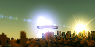 Unidentified flying objects over a famous city Stock Photography