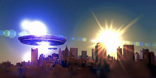 Unidentified flying objects over a famous city Royalty Free Stock Photography