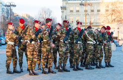 The unidentified French paratroopers , Paris, France. Royalty Free Stock Photography
