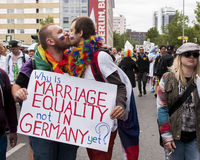 Unidentified gays kissing during Gay pride parade Royalty Free Stock Photography